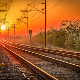 Sunrise on the railway tracks  by Dragan Rakocevic - Transportation Railway Tracks ( train tracks, red, railway, tracks, sunrise )