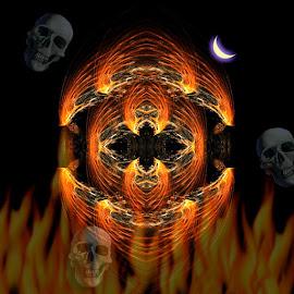 Halloween Night by Nancy Bowen - Illustration Holiday ( skulls, moon, pumpkin, fire )