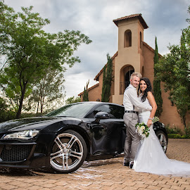 The Couple and The Car by Richard Oosthuizen - Wedding Bride & Groom ( wedding car, bride and groom )
