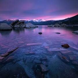Inception by Dustin Montgomery - Landscapes Waterscapes ( boulders, dawn, purple, waterscape, tahoe, inception, sunrise, landscape )