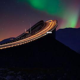 Colours by Jan Helge - Landscapes Starscapes ( aurora, bridge, road, atlantic, norway )
