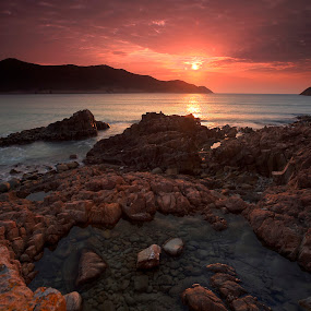 First Sun Rise in 2013 by Anthony Lau - Landscapes Sunsets & Sunrises ( shore, water, hill, red sky, hdr, sun rise, colorful, sea, beach, wave, cloud, rocks, coast line )