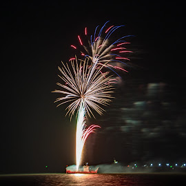 31122017_3744 by Deborah Bisley - Abstract Fire & Fireworks ( water, colour, lights, barge, sea, fireworks, ocean, smoke )