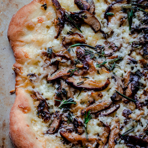 Mushroom Pizza with Havarti Cheese, Fresh Herbs, and White Truffle Oil