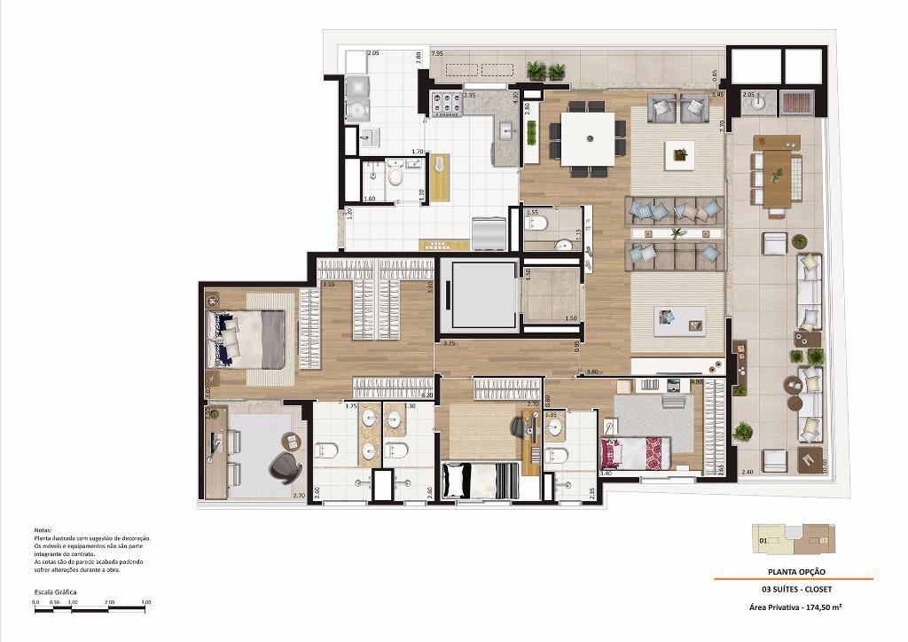 Planta Opção - 174 m²