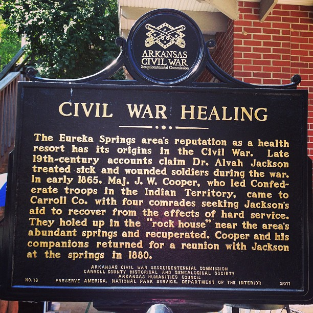 CIVIL WAR HEALING The Eureka Springs area's reputation as a health resort has its origins in the Civil War. Late 19th-century accounts claim Dr. Alvah Jackson treated sick and wounded soldiers during ...
