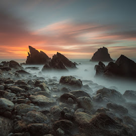 Landing on Mars by Marco Raposo - Landscapes Beaches ( sunset, adraga, sea, long exposure, beach, portugal )