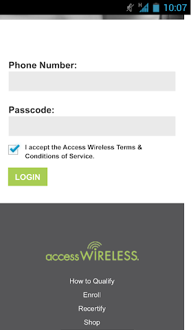 android Access Wireless My Account Screenshot 0