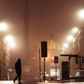 Newcastle Noir by Adam Lang - City,  Street & Park  Street Scenes ( lights, greys monument, fog, street, newcastle,  )