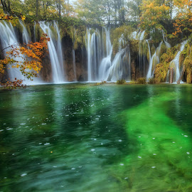Water Cascades by Rashid Ramdan - Landscapes Waterscapes ( canon, plitvice, autumn, waterfall, croatia, travel, photography )