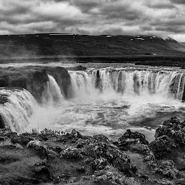 Godafoss by Richard Michael Lingo - Black & White Landscapes ( godafoss, iceland, waterscape, black and white, waterfall, landscape )