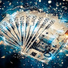Money by Michael Kulinski - Digital Art Abstract ( blue, digital art, money, fireworks, euro )