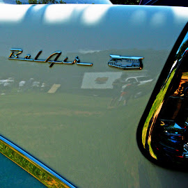 Bel Air by Clarence Hagler - Transportation Automobiles ( tail light, bel air, blue, white, tail fin )