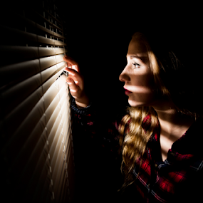 Playing with light  by Roman Kolodziej - People Portraits of Women ( couriosity, window, shadow, woman, light, portrait, hope, fear,  )