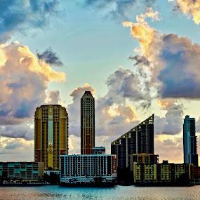 Sunrise on Williams Island FL by Neil Dern - City,  Street & Park  Skylines ( skyline, waterscape, colors, landscape photography, sunrise )