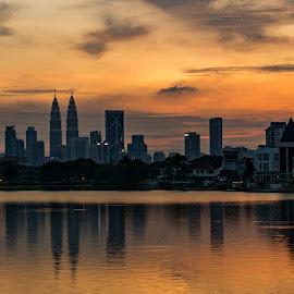 Sunset at Ampang Hilir by Varok Saurfang - City,  Street & Park  Skylines ( klcc, skyline, sunset, asia, lake, malaysia, cityscape, kuala lumpur, city, golden hour )