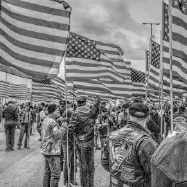 Patriot Guard Riders by Marc Mulkey - Black & White Street & Candid ( motorcycles, flags, black and white, pgr, funeral, patriot guard riders, chris kyle )