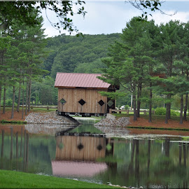 Covered bridge in a park by Janice Burnett - City,  Street & Park  City Parks ( water, peaceful, covered bridge, serene, trees, reflections, pond )