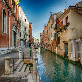 Venezia - side strreet of Canareggio by Jiri Cetkovsky - City,  Street & Park  Street Scenes ( water, venezia, street, wet, colorfull, morning, italy, gondole, historic, city )