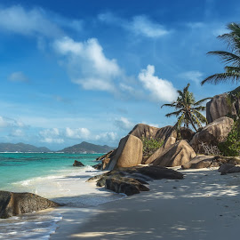Seychelles, La Digue by Dmitry Laudin - Landscapes Beaches ( clouds, sand, la digue, emerald green, palm trees, indian, ocean, beach, paradise, seychelles, island, tropics, sky, blue, summer, granite )