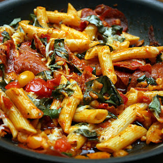Penne with Pepperoni & Basil