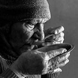 The Vintage Charm by Pinkesh Modi - People Portraits of Men ( vintage, drinking, black and white, grandfather, simple, tea, portrait, heritage, wrinkles, blackandwhite, simplicity, elegant, old man, light )