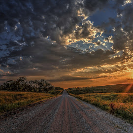 Take me home by Casey Mitchell - Landscapes Sunsets & Sunrises ( clouds, farm, country roads, sunset, road, sun, country )