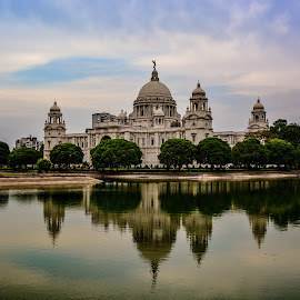 Victoria Memorial, Kolkata. by Arindam Patra - Landscapes Travel ( reflection, lake )