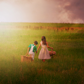 Childhood by Emily Vickers - Babies & Children Child Portraits ( clouds, field, girl, teddy bear, grass, children siblings, sunset, children, childhood, siblings, boy, photography, picnic )