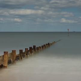Seaton Sluice Groyne by Charlie Davidson - Landscapes Waterscapes ( clouds, sky, sea, long exposure, seascape, beach )