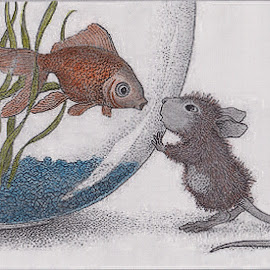 Introductions.... by Melanie Goins - Illustration Cartoons & Characters ( mouse, cartoon, fish, strangers, fish bowl )