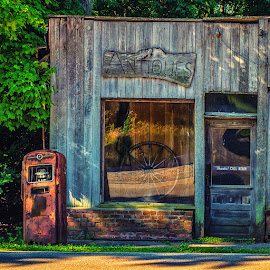 Antiques by James Kirk - City,  Street & Park  Street Scenes ( shop, old, store, gas pump, antique, historic )