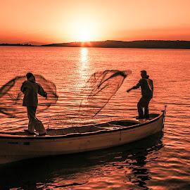 Sunset by Berrin Aydın - Transportation Boats ( fishermen, sunset, reflections, lake, boat,  )