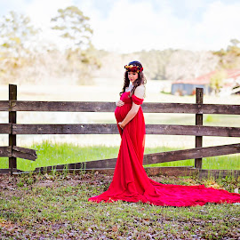 Madison and Judson by Sabrina Causey - People Maternity ( farm, maternity, red, mother to be, barn, baby, pond, portrait )