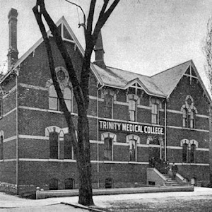 Trinity College Medical School in Cabbagetown. A school for 30 years, the building was a mattress factory for decades & later adapted to townhouses in the late 1970s. Submitted by @heritagetoronto.