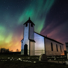 Lights at Morley by Kaye Mendoza - Buildings & Architecture Public & Historical ( fuji x, canada, alberta, night photography, church, fujifilm, aurora borealis, aurora, morley,  )