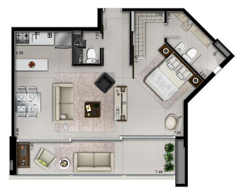 Planta apto 66 m²