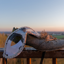 Eye mask with a womens shoe by Denny Gruner - Artistic Objects Clothing & Accessories ( railing, old, fashion, decorative, still life, moss, landscape, disguise, sky, nature, heels, light, shoe, leather, orange, womans, worn, carnival, decoration, art, fun, sunlight, dusk, sunset, brown, shabby, natural, eye mask )