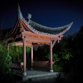 Song Mei Ting at Twilight by Briand Sanderson - Buildings & Architecture Other Exteriors ( seattle, twilight, seattle chinese garden, song mei ting, architectural, architecture, garden, chinese )
