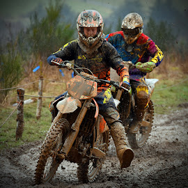 No Gift Exchange by Marco Bertamé - Sports & Fitness Motorsports ( position, bike, mud, rainy, motocross, fight, race, hard, duel, competition,  )