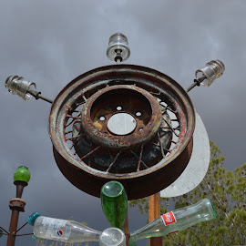 Wheel tree by Heather Walton - Novices Only Objects & Still Life ( ranch, wheel, rusted, glass, bottles )