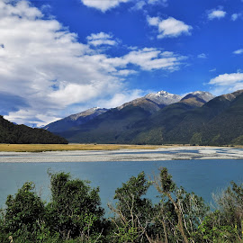 by Phil Bear - Landscapes Mountains & Hills ( mountains, valley, new zealand, river )