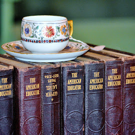 The American Educator by Erin Czech - Artistic Objects Education Objects ( cup, encyclopedia, books, saucer, book,  )