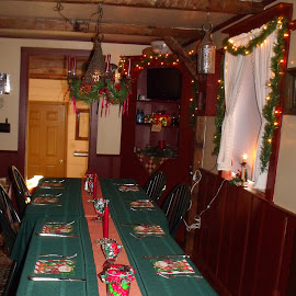 Set for Dinner by Lenora Popa - Public Holidays Christmas ( holiday, green, christmas, holidays, table top )