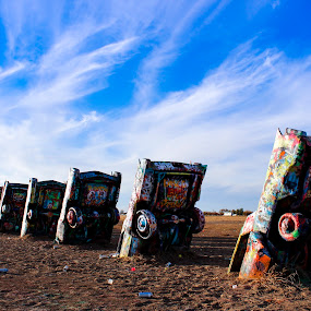 Cadillac Ranch by Scott Thomas - Artistic Objects Other Objects ( #landscape, #paint, #sky, #cars, #cadillac )