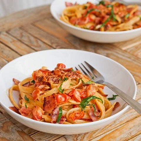 Pasta with Creamy Cherry Tomato Sauce and Ham