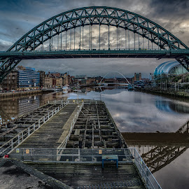 Blue Tyne by Adam Lang - Buildings & Architecture Bridges & Suspended Structures ( sage, river tyne, gateshead, newcastle, tyne bridge, millenium bridge )