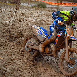 Finish In Sight ! by Marco Bertamé - Sports & Fitness Motorsports ( finish, mud, rainy, motocross, pushing, clumps, race, accelerating, competition )