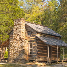 Cabin by Jennifer  Loper  - Buildings & Architecture Public & Historical ( national park, chimney, 1820's, pigeon forge, rocks, tennessee, cabin, cades cove, great smoky mountains )
