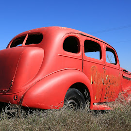 Retired by Don Bates - Transportation Automobiles ( red, blue, buick, transportation, antique,  )